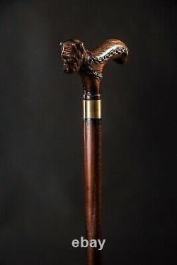 Dog Wooden Cane, Bulldog Walking Stick, Handmade Carved Hiking Stick