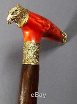 EAGLE HAWK BURL Wooden Handmade Cane Walking Stick Accessories BRONZE Canes NEW