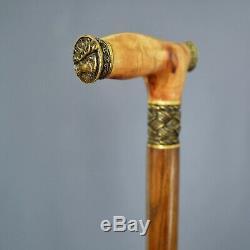 ELK MOOSE BURL Wooden Handmade Cane Walking Stick Accessories BRONZE Craft Canes