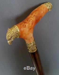 Eagle Handmade Cane Walking Stick Wooden Burl Unique Accessories BRONZE