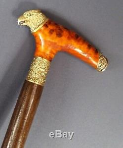 Eagle RED Wooden Handmade Cane Walking Stick Accessories BRONZE Canes Wood