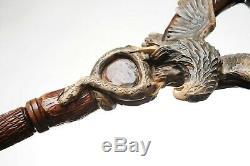 Eagle & Snake Walking Stick Wooden Cane Handmade Hand Carved Crafted Staff
