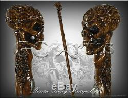 Egypt Skull Wooden Walking Stick Cane Hiking Staff Hand Carved Ankh Knob Handle