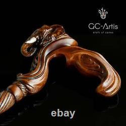 Elephant Cane Wooden Walking Stick Anatomic Palm Grip Handle Wood Carved