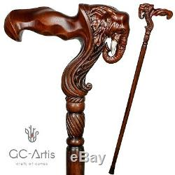 Elephant Wooden Cane Walking Stick for men Anatomic Handle Original GC-Artis