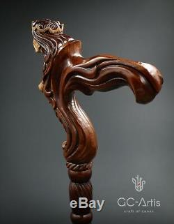 Ergonomic Handle! Wooden Syren Girl Lady Walking Cane Stick Fantasy man woman