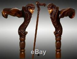 Ergonomic Handle! Wooden Walking Cane Stick Egypt Pharaoh / Tutankhamun / Sphinx