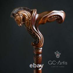 Ergonomic Palm Grip Handle Horse Wooden Cane Walking Stick Wood Carved Walking