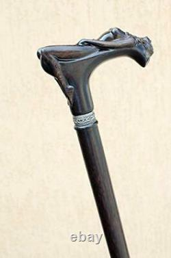 Exclusive Hand-Carved Wooden Cane for Men Nymph Fancy Walking Stick Unique