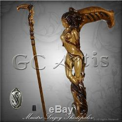Fantasy Forest Fairy Girl Wooden Walking Stick Cane Hand Carved art for men MZ01
