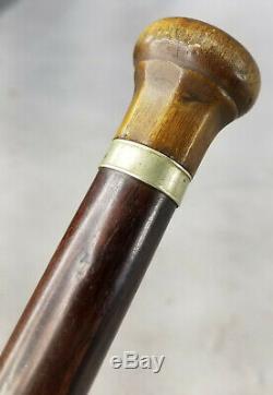 Fine Antique Cane Walking Stick Carved Horn Handle Wooden Shaft