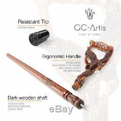 Fishing American Eagle Walking Stick Cane Hand carved wooden designer MZ08