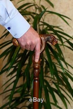 GC-Artis wooden cane walking stick anatomic palm grip handle T-Rex dinosaur head