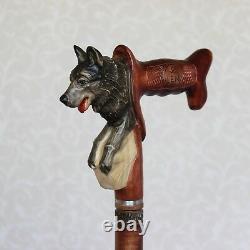 German shepherd dog Wooden Hand Carved Walking stick cane Homemade Hiking