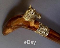 HORSE Cane Walking Stick Wooden BURL Handmade Men's Accessories Bronze parts
