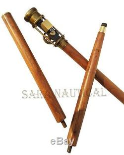 Halloween Working Steam Engine Handle Wooden Walking Stick Brass Antique Canes