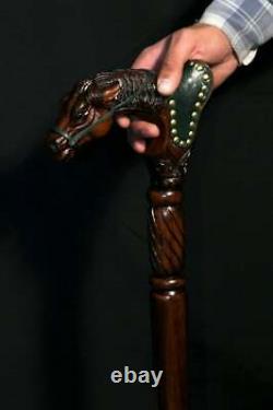 Hand Art Wooden Cane Walking Stick Horse with Saddle Wood & Leather Work