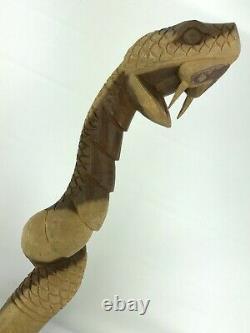Hand Carved 39 Wooden Snake Cane Folk Art Wood Walking Stick
