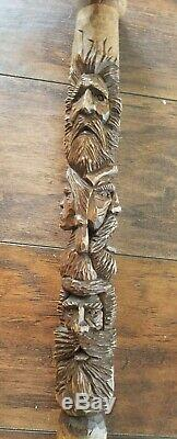 Hand Carved Wood Cane by M. Denaro, walking stick fantasy wizard wooden indian
