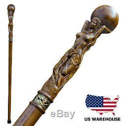 Hand Carved Wooden Canes for Men Goddess Fancy Wood Cane Walking Sticks