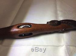 Hand Carved Wooden Masonic Folk Art Walking Stick Cane Snake Hand Ball Belt