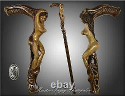 Hand carved Walking Stick Cane LOVE Naked Girl Wooden hand crafted gift for men