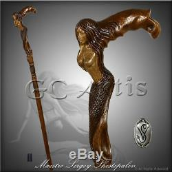 Hand carved Walking Stick Cane Mermaid D Siren Wooden art handcrafted MZ07