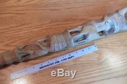 Hand made cane walking stick carved wood wooden animal goat ram antelope Vintage