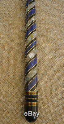 Handcrafted 35 Lapis & Mother of Pearl Inlaid Ebony Wooden Walking Cane Stick