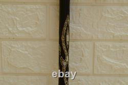 Handmade 35 Walking Wooden Cane, Mother of Pearl Inlay ebony Wood Stick Cane