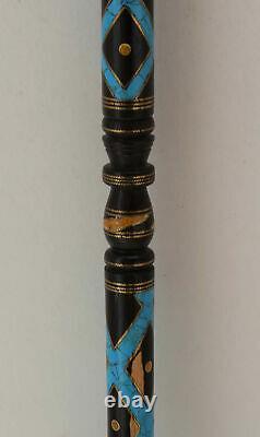 Handmade 36.6 Turquoise Inlaid Wooden Stick, Egyptian Ebony wood Walking Cane