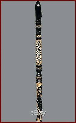 Handmade Walking Cane Stick Wood Wooden Handle Spiral Hand Carved Support OZL9