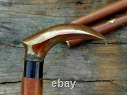 Handmade wooden walking stick vintage with antique style handle cane collectible