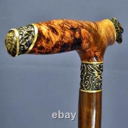 Hawk Stabilized Burl Handle Wooden Handmade Cane Walking Stick Unique Exclusive