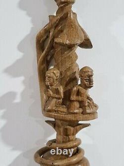 Heavily Carved Nyami Nyami African Wooden Walking Stick