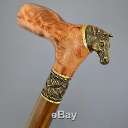 Horse Stabilized Burl Handle Wooden Handmade Cane Walking Stick Unique Exclusive