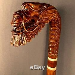 Japanese Dragon Cane Walking Sticks Wooden Handmade Hand carving Exclusive