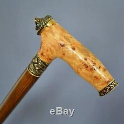 LION BURL Wooden Handmade Cane Walking Stick Accessories BRONZE Craft Canes