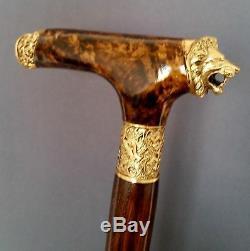 LION BURL Wooden Handmade Cane Walking Stick Accessories BRONZE Craft Canes NEW