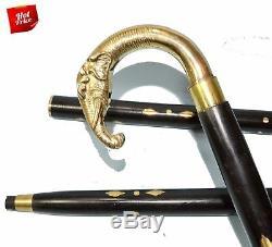 LOT OF 10 PCS Brass Elephant Handle wooden Walking stick morning walking Gift