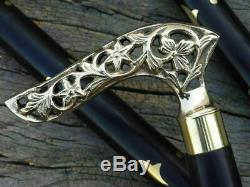 LOT OF 10 PCS DESIGNER LONG WOLF PARABOLA STYLE Cane Brass Wooden Walking Stick