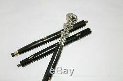 LOT OF 5 PCS Antique Brass Head Handle Vintage Wooden Solid Walking Stick