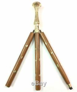 LOT OF 5 PCS Brass Designer Handle Victorian Vintage Cane Wooden Walking Stick
