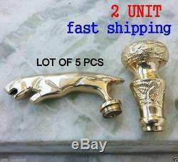 LOT OF 5 PCS Brass VICTORIAN & JAGUAR Handle For Wooden Walking Stick Cane