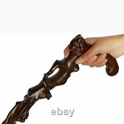 LPY-GZ-090 Wooden Carved Crutch Comfortable Handle Walking Sticks Retro Cane for