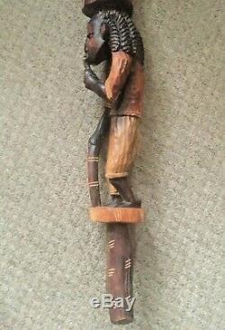 Large Vintage Wooden Carved African Walking Stick Men Tribal 44 Long Home Decor