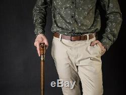 Light Brown Folding Wooden Cane, 3 Fold Travel Collapsible Vintage Walking Stick