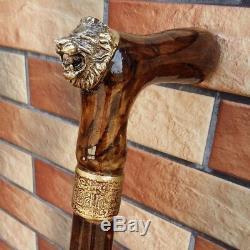Lion Cane Walking Stick Wooden BURL Handmade Men's Accessories Cane 33-37 inch