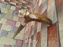 Lion Cane Walking Stick Wooden BURL Handmade Men's Accessories Cane NEW