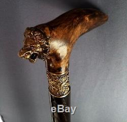 Lion King Handmade Cane Walking Stick Wooden Burl Unique Accessories BRONZE